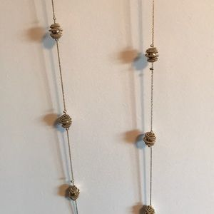 Charming Charlie Jewelry - Long gold necklace and earring set